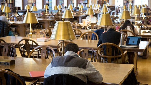 Students study in Harvard University's Loker Reading Room within Widener Library on November 27, 2017. Photo by J. Graham Pearsall